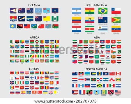 Flags of the world set illustration - stock vector