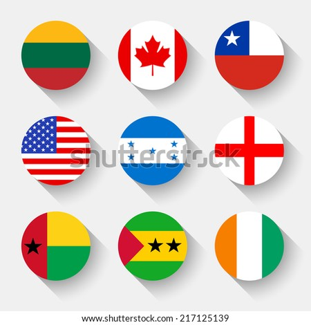 Flags of the world, set 01 with shadow - stock vector