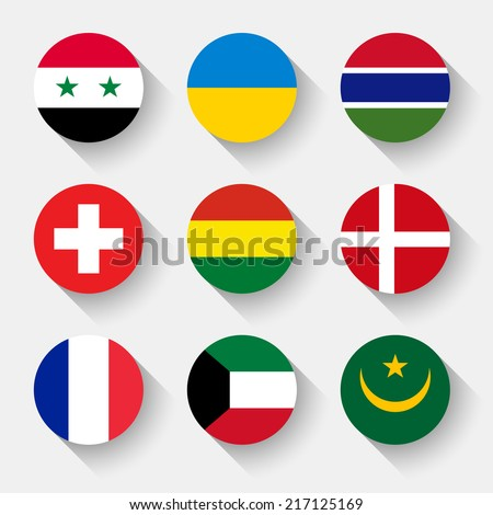 Flags of the world, set 06 with shadow - stock vector