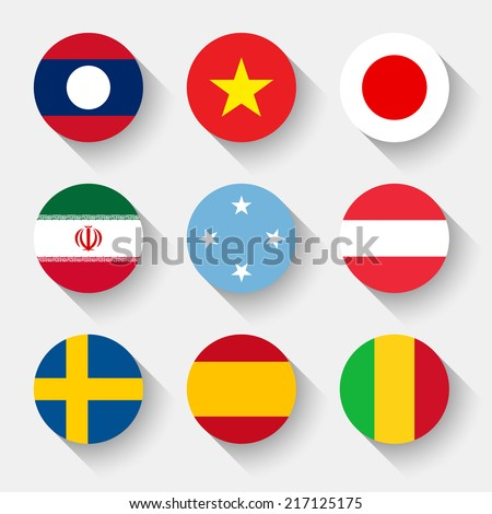 Flags of the world, set 11 with shadow - stock vector