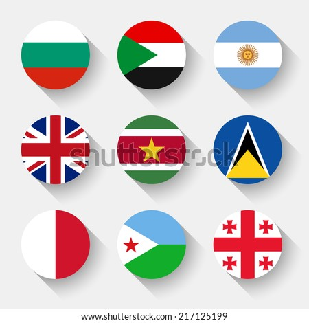 Flags of the world, set 08 with shadow - stock vector