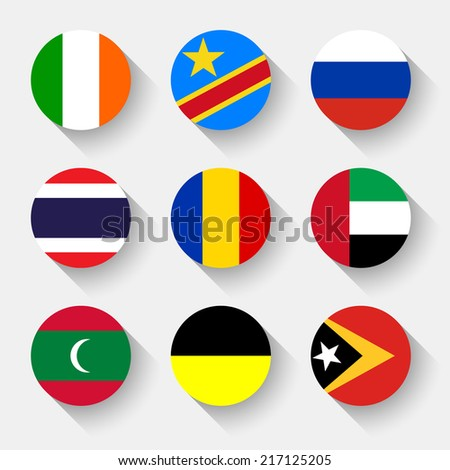 Flags of the world, set 14 with shadow - stock vector