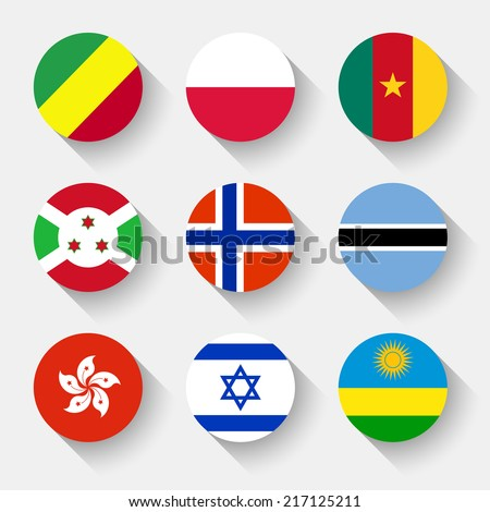 Flags of the world, set 12 with shadow - stock vector