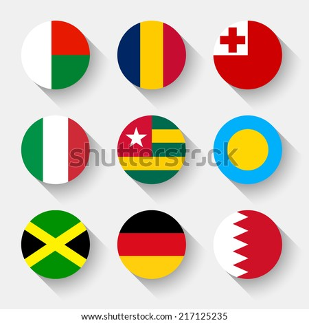 Flags of the world, set 07 with shadow - stock vector