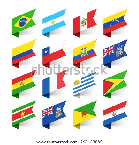 Flags of the World, South America, vector illustration  - stock vector