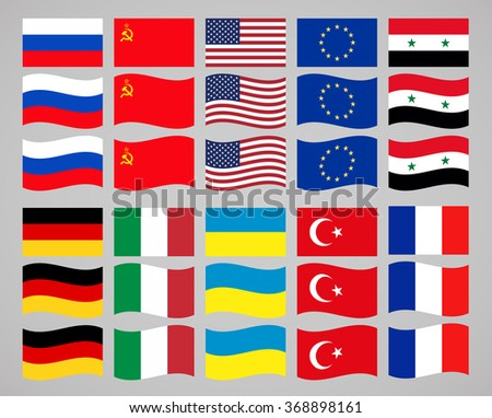 flags of the world vector icons set - stock vector