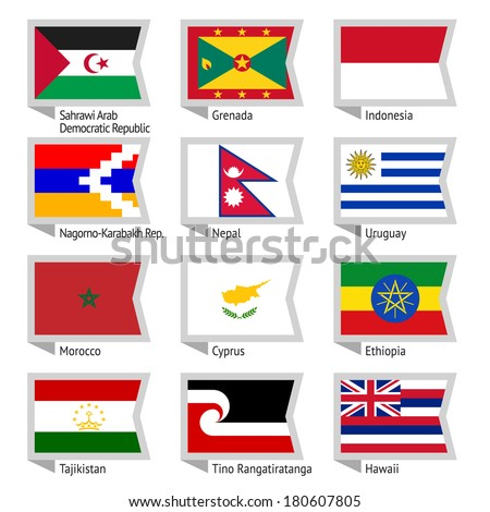 Flags of world, flat vector illustration. Set number 15