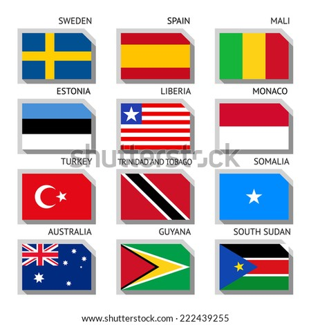 Flags of world, flat vector illustration. Set number 09 - stock vector