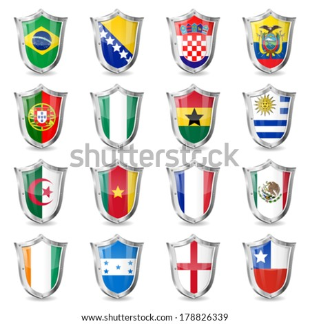 Flags on Shields, isolated vector. Part 1 of 2. - stock vector