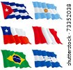 Flags set 7. Honduras, Cuba, Argentina, Peru, Brazil, Chile. There are no meshes in this images. - stock vector