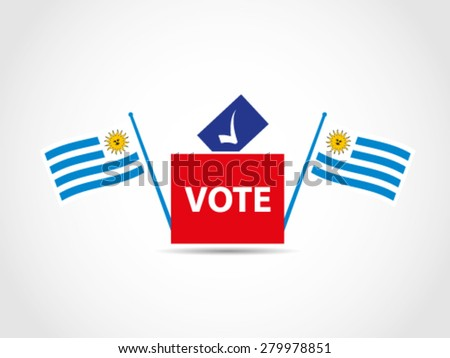 Flags Uruguay Campaign Ballot Box Parliament - stock vector