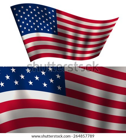 Flags USA Waving Wind Stars and Stripes for Independence Day 4th of July President Day Washington Day US Labor Day Patriotic Symbolic Decoration for Holiday or Celebration Backgrounds - Vector  - stock vector