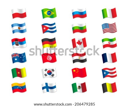 Flags volleyball 2014 - stock vector