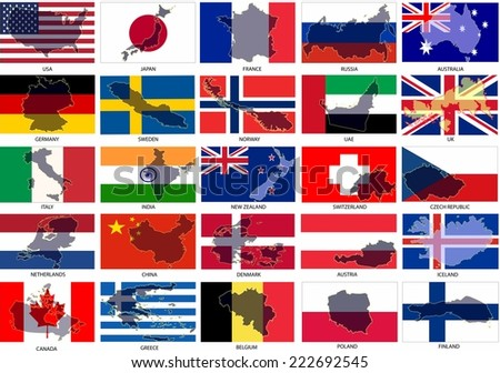 flags with country shape - stock vector