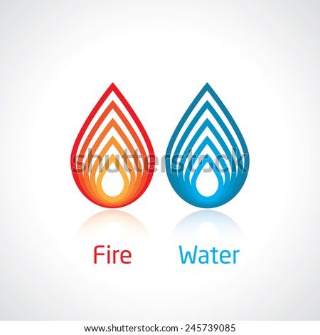 flame and water abstract symbol
