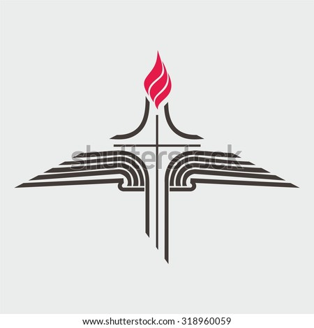 Flame, cross, and open Bible - stock vector