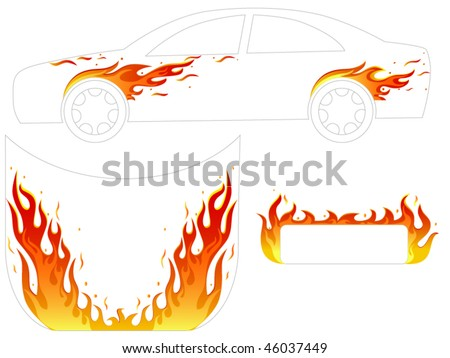 flame for vehicle  tattoo - stock vector
