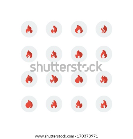 Flame Icon Set - Vector Illustration - stock vector
