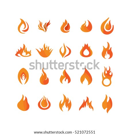 Flame icons in white background