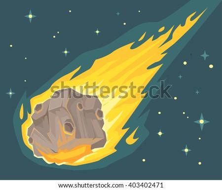 Flame meteorite. Vector flat cartoon illustration - stock vector