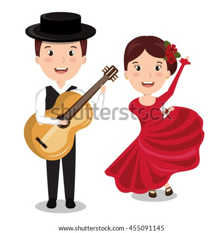flamenco musician with dancer  isolated icon design, vector illustration  graphic