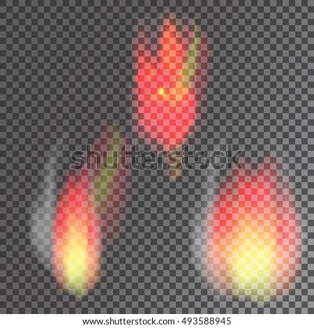 flames, fire outbreak on a transparent background, vector