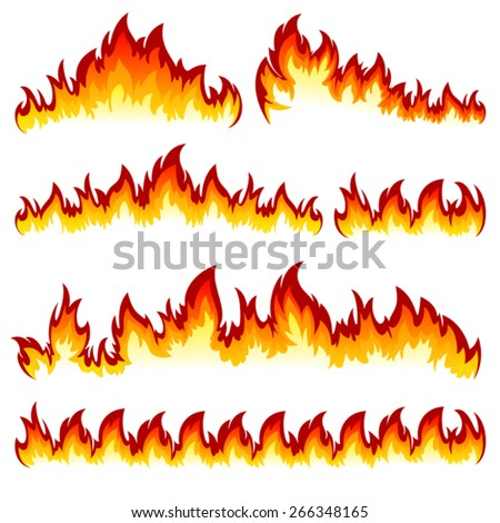 Flames of different shapes on a white background.  - stock vector