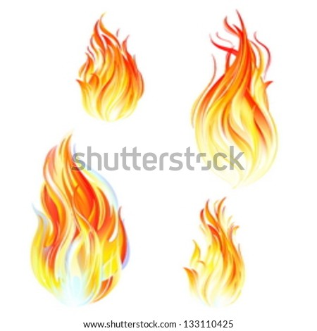 Flames of fire, collection of icons, vector illustration on white background
