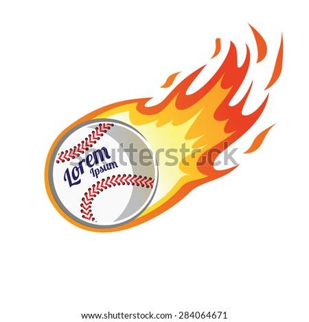 flaming baseball - stock vector