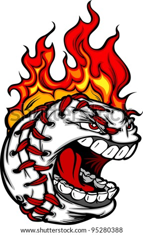 Flaming Baseball Ball Face Cartoon Vector Illustration - stock vector
