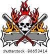 Flaming Baseball Bats and Skull Template Image - stock vector