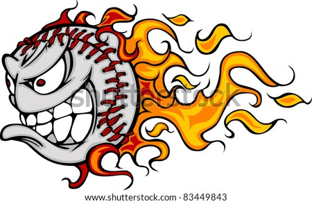 Flaming Baseball or Softball Face Cartoon - stock vector