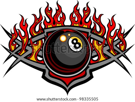 Flaming Billiards Eight Ball Vector Template burning with Fire Flames - stock vector