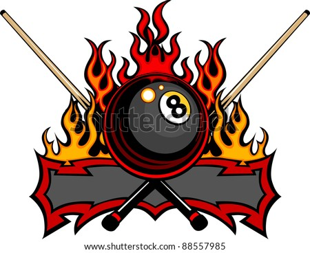 Flaming Billiards Eight Ball with cue sticks Vector Template burning with Fire Flames - stock vector