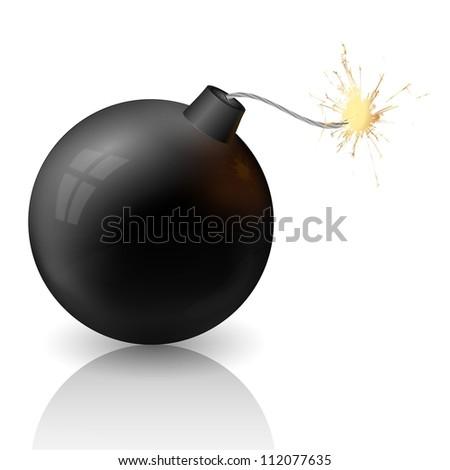 flaming bomb - stock vector