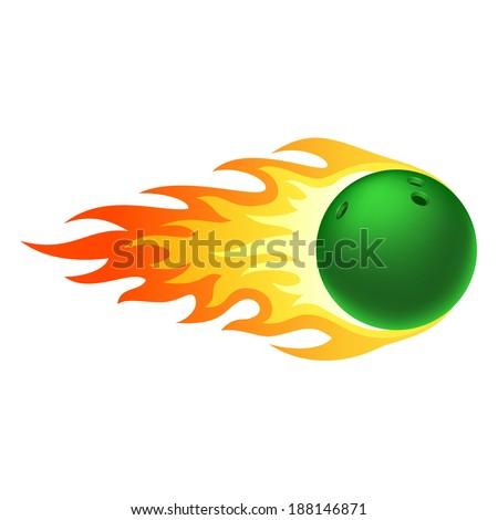 Flaming bowling ball - stock vector