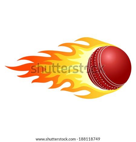 Flaming cricket ball - stock vector