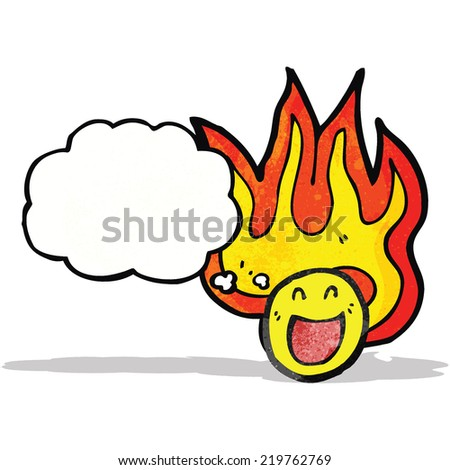 flaming emoticon face cartoon - stock vector