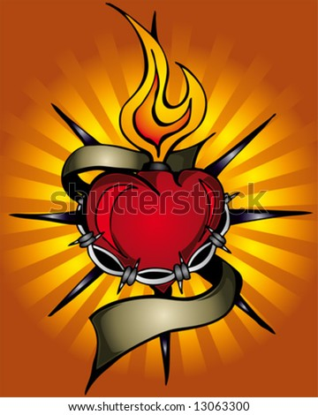 flaming heart - stock vector