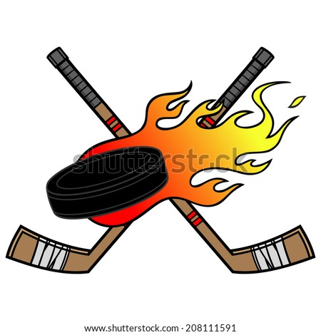 Flaming Hockey Puck - stock vector