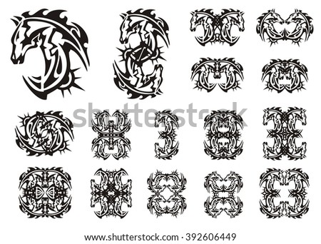 Flaming horse symbols. Tribal peaked stylized horse head with the decorative sun and the twirled symbols from her - stock vector