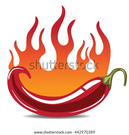 Flaming hot pepper icon. EPS 10 vector.