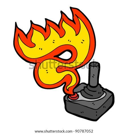 flaming joystick cartoon - stock vector