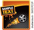 flaming racing tire on orange and black halftone banner - stock vector