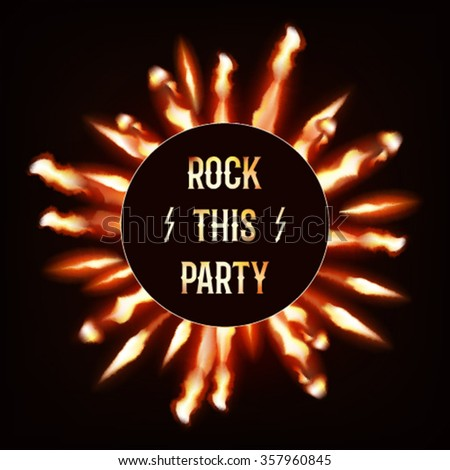 Flaming rock this party flyer dark background - stock vector