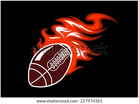Flaming rugby ball speeding through the air with a motion trail of flames, vector illustration on black - stock vector
