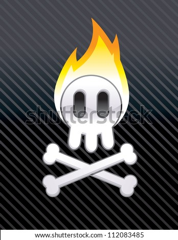 Flaming Skull - stock vector