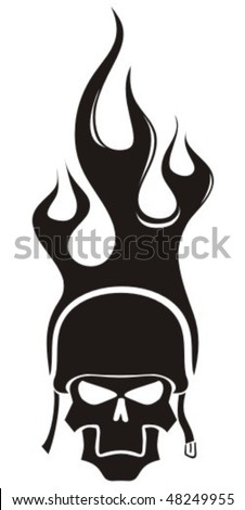 Flaming skull with helmet. - stock vector