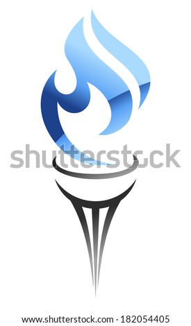 Flaming stylized torch with a flowing blue gas flame logo for industrial design - stock vector