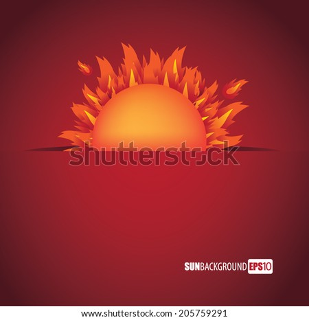 Flaming sun background. EPS 10 vector, grouped for easy editing. No open shapes or paths. - stock vector